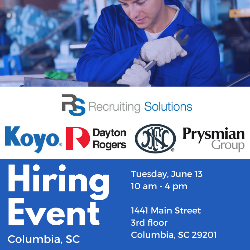 Skilled manufacturing hiring event recruiting solutions for Flooring companies columbia sc